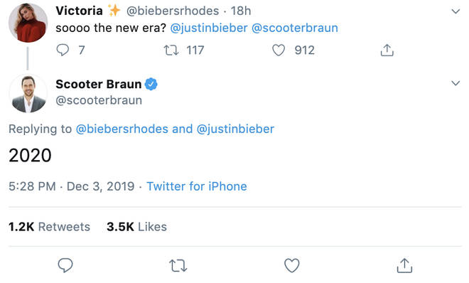 Scooter Braun confirmed Justin Bieber's new music in 2020