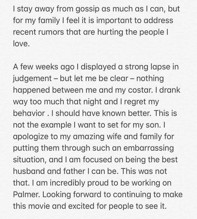 Justin Timberlake apologised to his wife, Jessia Biel, via Instagram