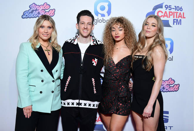Ella Henderson, Sigala, Ella Eyre & Becky Hill on the red carpet at the Jingle Bell Ball 2019
