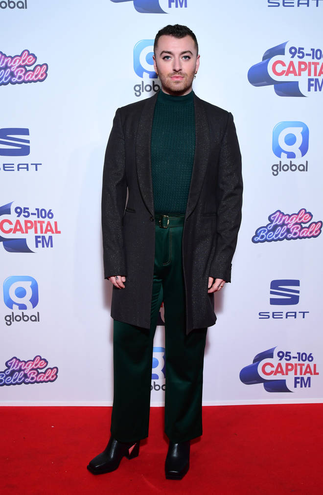 Sam Smith on the red carpet at Capital's Jingle Bell Ball 2019