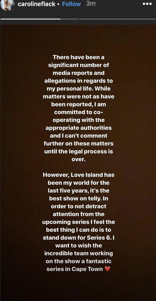 Caroline Flack quit Love Island