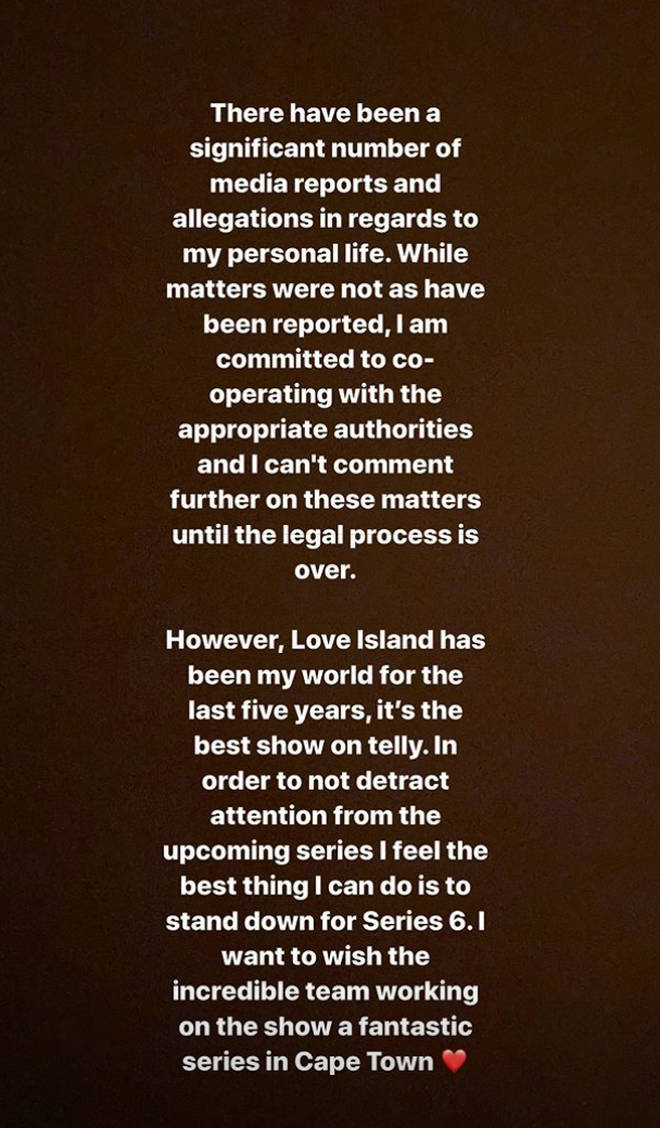 Caroline Flack posted this statement to announce she's stepped down