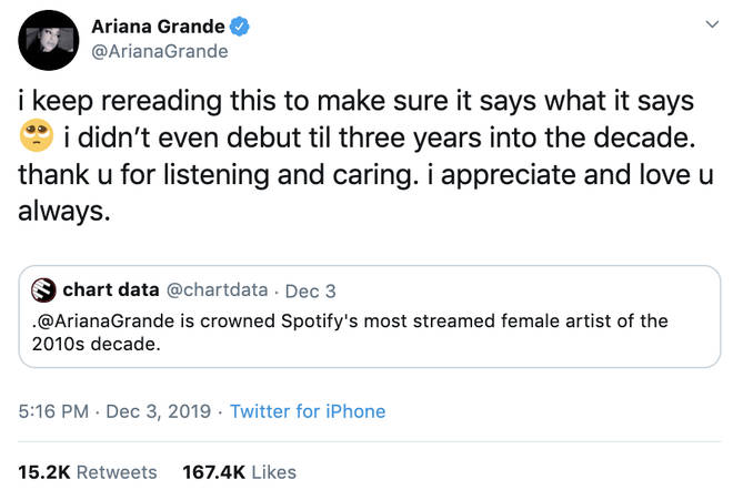 Ariana Grande at the end of the decade