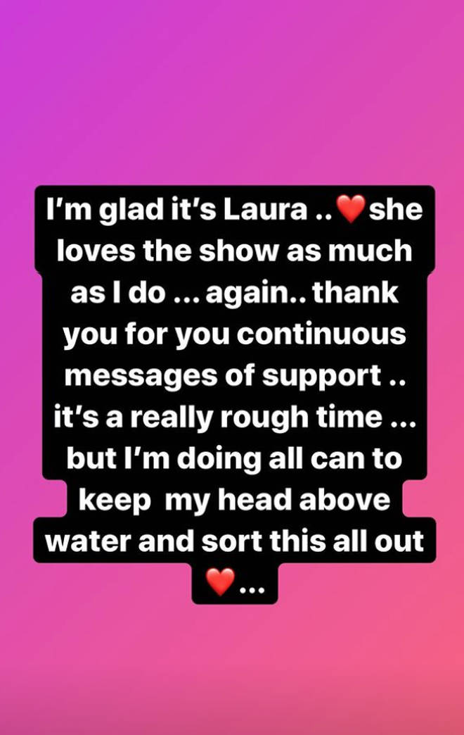 Caroline Flack posted a message to congratulate Laura Whitmore and thank fans for their support