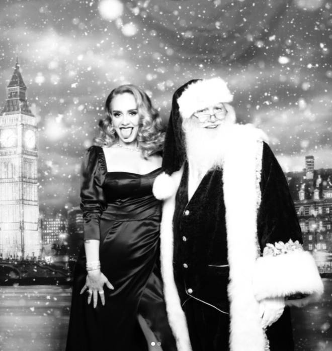 Adele posed up a storm at her Christmas party