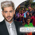 Zac Efron has spoken out after being rushed to hospital