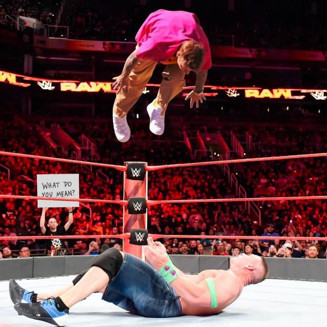 Justin Bieber was edited to be wrestling John Cena