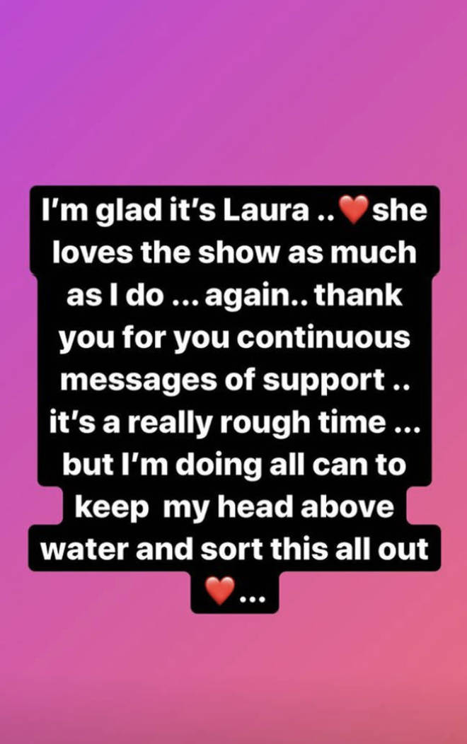 Caroline Flack showed her support to Laura Whitmore