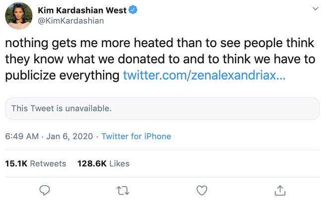 Kim Kardashian hit back at a fan