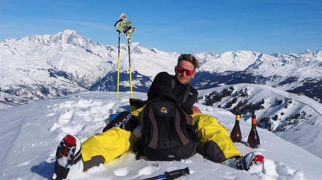 Love Island Ollie Williams on ski holiday