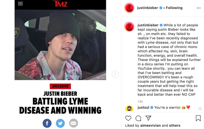 Justin Bieber reveals he's suffering with Lyme disease