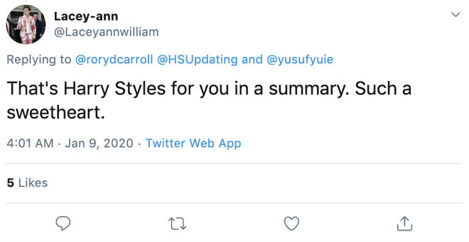Fans took to Twitter to praise Harry Styles