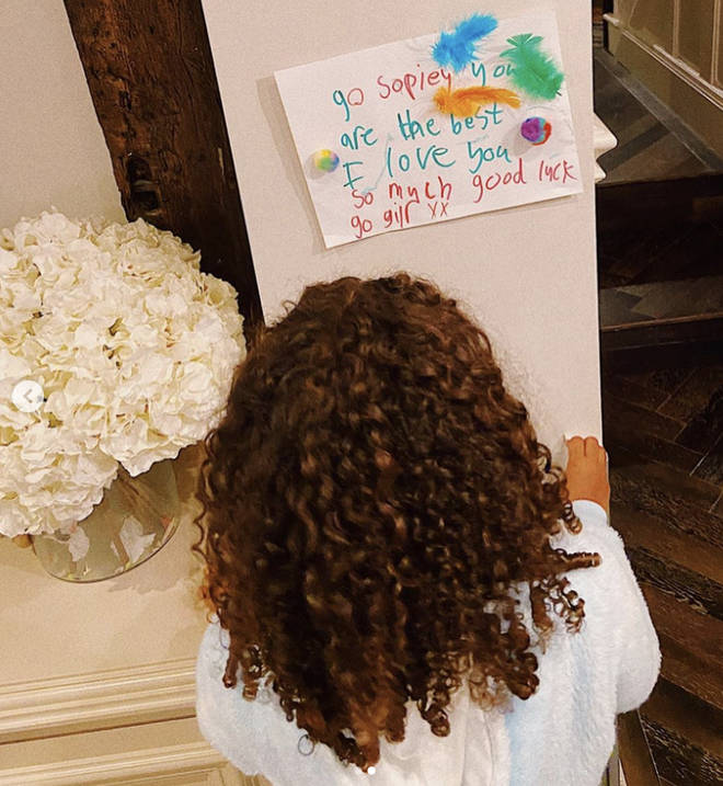 Sophie's niece Alaia wished her good luck
