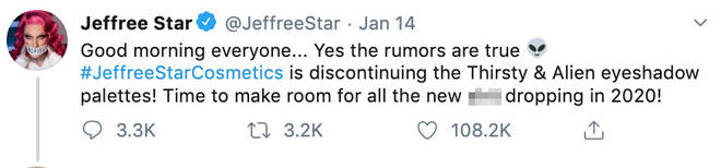 Jeffree Star confirmed the rumours with a tweet