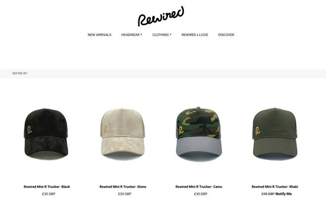 Rewired caps range from £20-£30