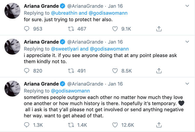 Ariana Grande explains to fans what happened between her & former close friend