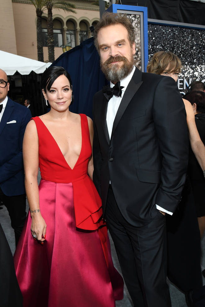 David Harbour and Lily Allen looked loved up at the SAG Awards