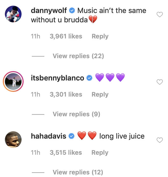 Everyone filled the comments with love for Juice WRLD