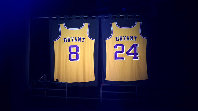 Kobe Bryant's LA Lakers jerseys were lit all night during the GRAMMYs