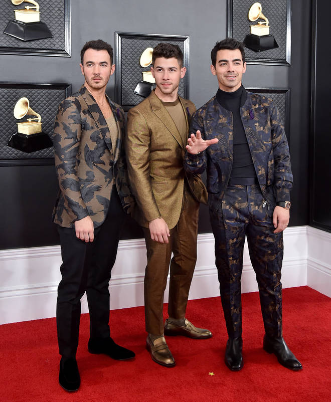 The Jonas Brothers matched in patterned ensembles