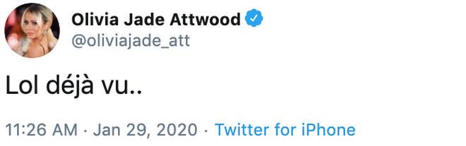 Olivia Attwood's tweet was seemingly aimed at ex Chris Hughes