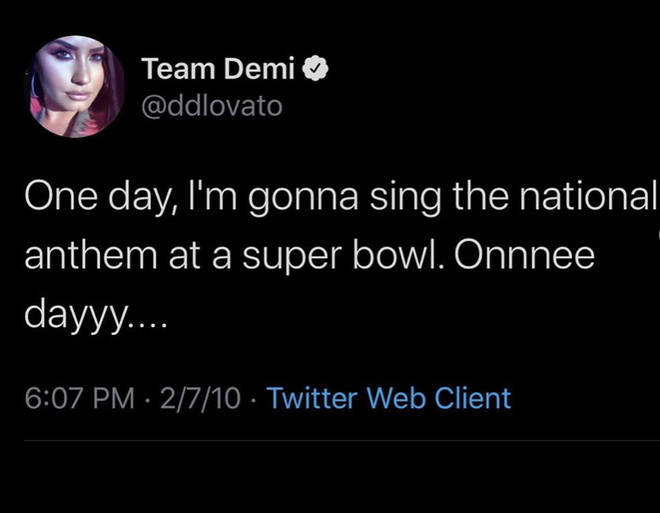 Scooter shared Demi's tweet from 2010 about performing at the Super Bowl