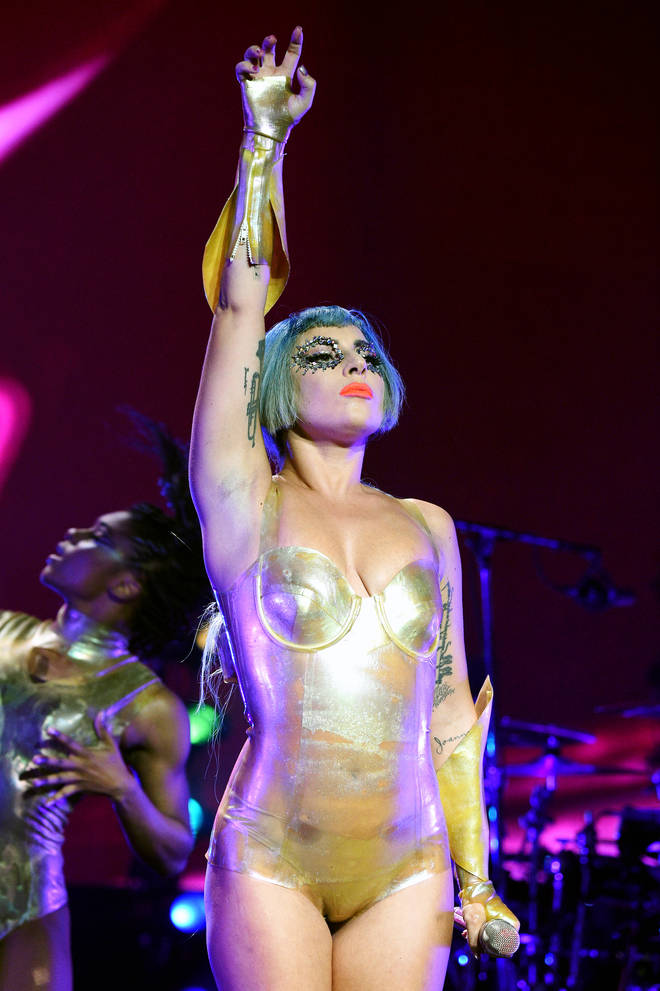 Lady Gaga performed at a pre-game show ahead of the Super Bowl