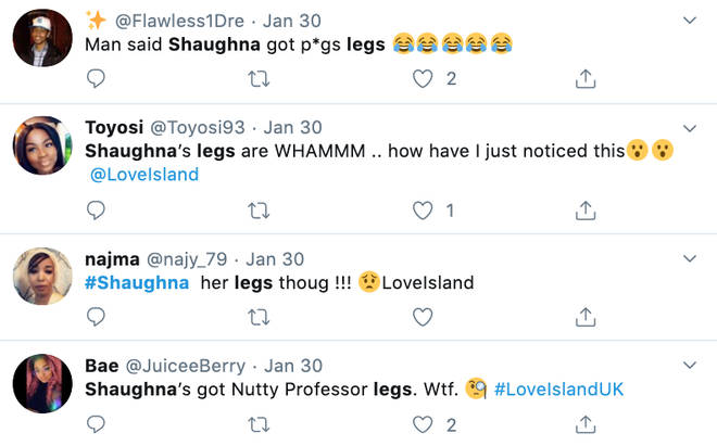 Trolls tweet about Shaughna's legs on Twitter