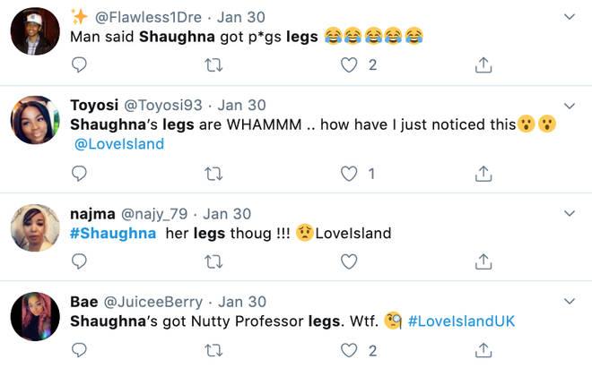 Trolls tweet about Shaughna's legs on Twitter