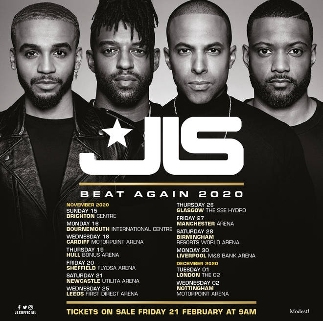 JLS announce 13 date UK tour