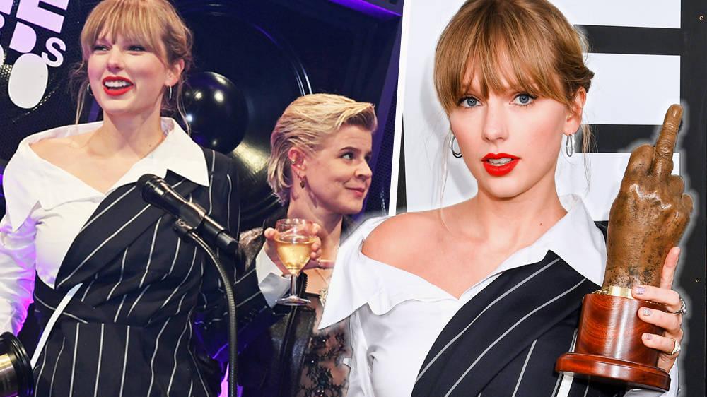 Taylor Swift jokes the rowdy NME awards crowd are 'shy' amid Slowthai drama
