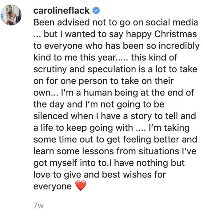 Caroline Flack took a break from social media following her assault charge