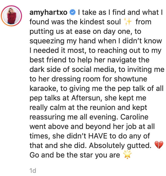 Amy Hart penned an emotional post about Caroline Flack after her passing