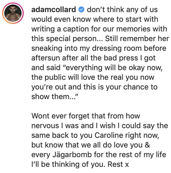 Adam Collard explained how Caroline Flack taught him to deal with 'bad press'