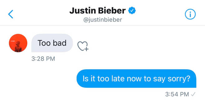 Justin Bieber and Maria Ciuffo's message exchange