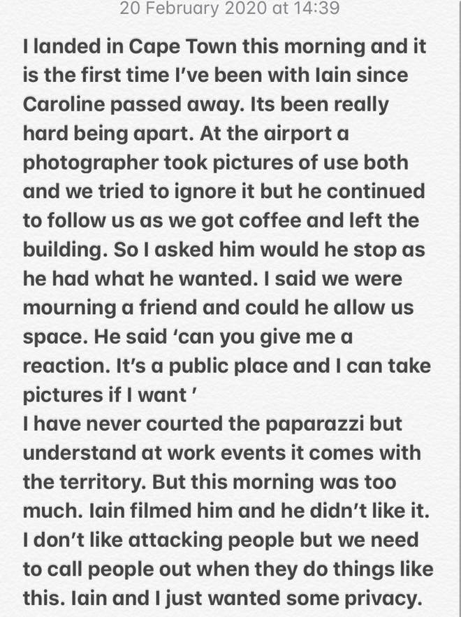 Laura Whitmore posted this statement to her Twitter account