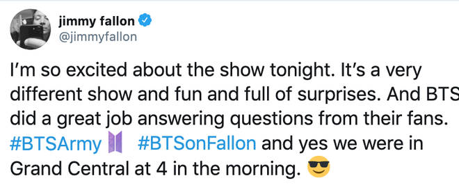 Jimmy Fallon reveals they filmed the performance at 4 in the morning