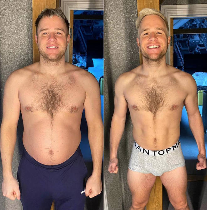 Olly Murs shared this before and after photo on Instagram