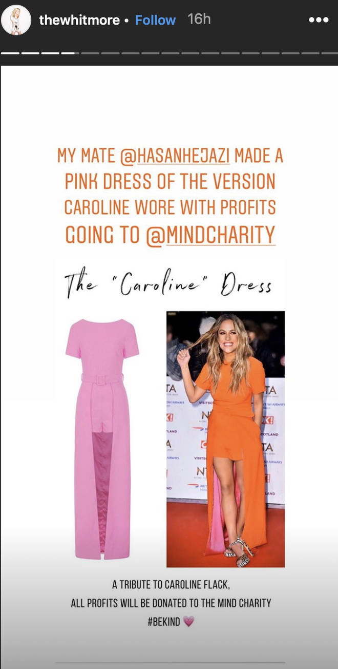 Laura Whitmore encouraged fans to purchase the Caroline Flack tribute dress
