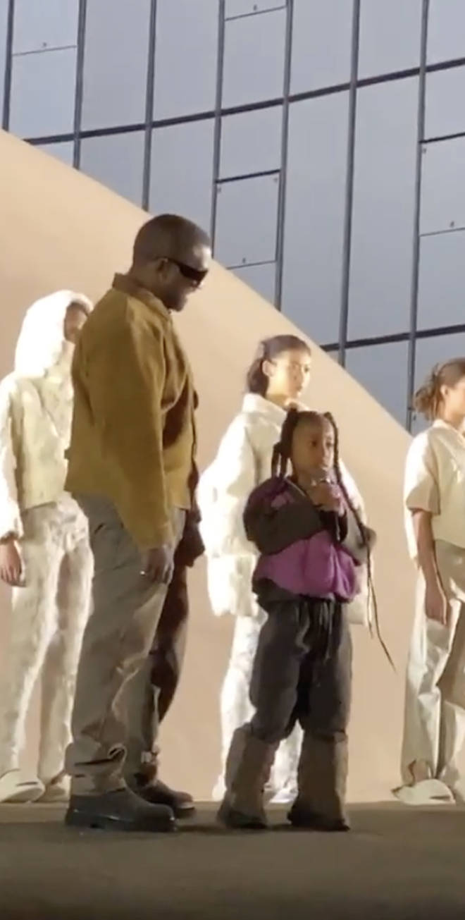 North was joined by her dad, Kanye West, on stage