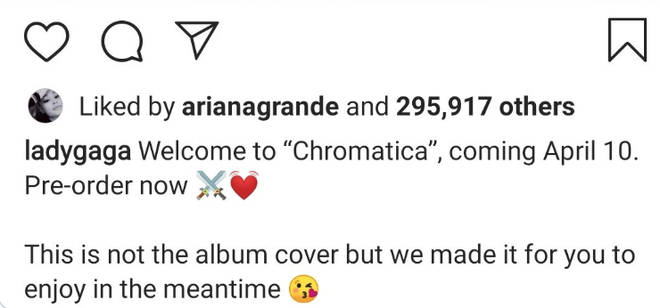 Ariana Grande likes Lady Gaga's post about new album
