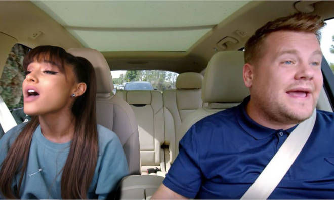 Ariana Grande and James Corden on Carpool Karaoke