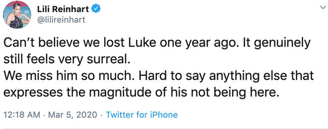 Lili Reinhart tweeted her sadness one year on from Luke Perry's death