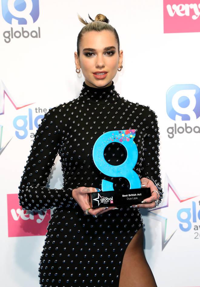 Dua Lipa won Best British Act at the Global Awards