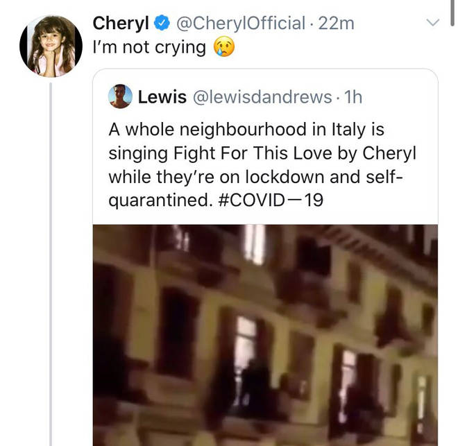 Cheryl tweets about the coronavirus outbreak