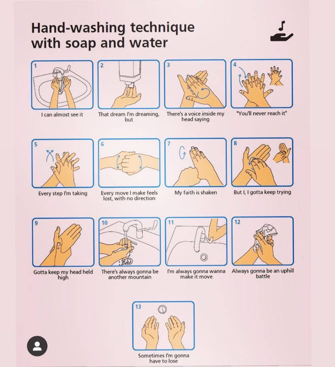 Miley Cyrus shared a hand-washing meme