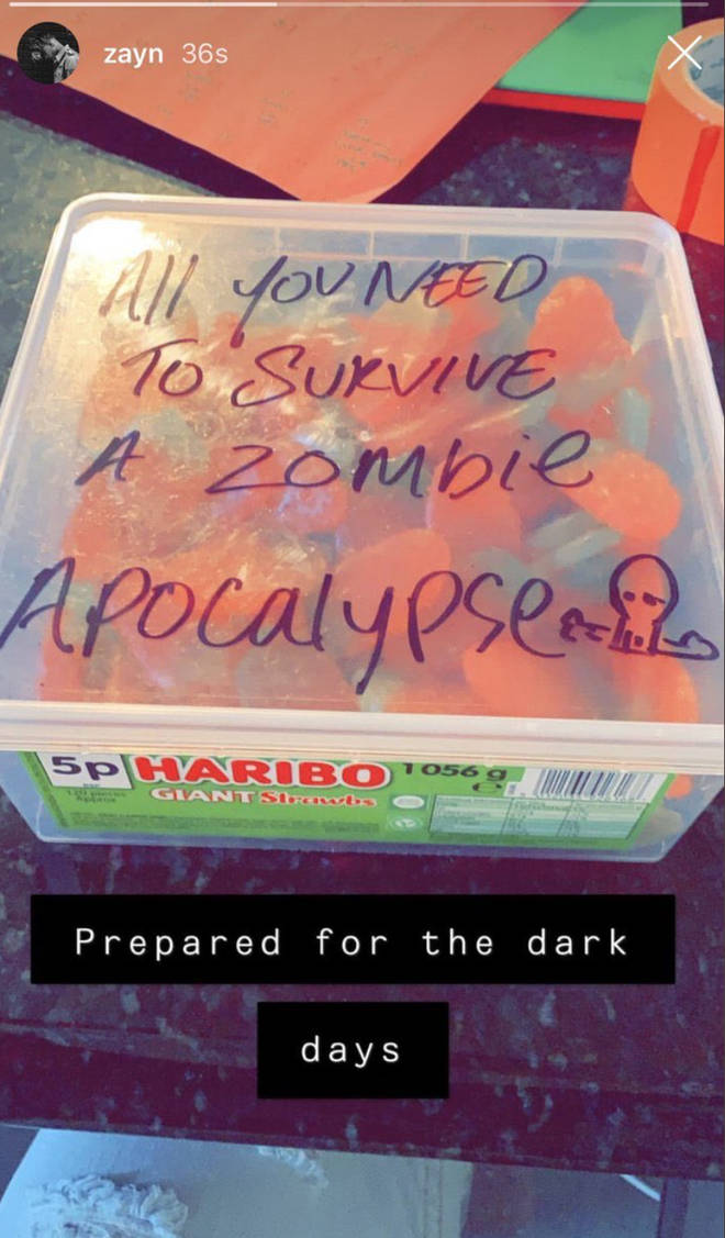 Zayn Malik joked he had 'prepared' for an 'apocalypse'