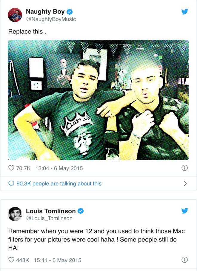 Louis Tomlinson throws shade at Zayn & Naughty Boy on Twitter