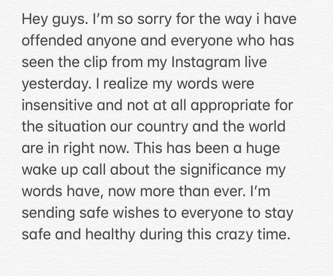 Vanessa Hudgens issued an apology for her comments on coronavirus