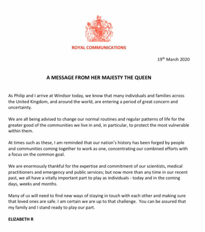 The Queen's statement was issued on Thursday.